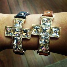 Leather Cross Diamond Bracelet