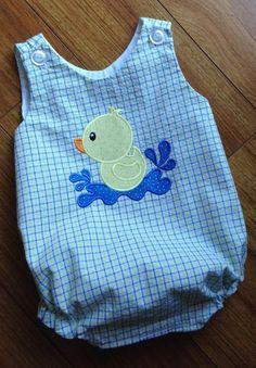 Toddler, little boy's duck in water applique bubble suit - sz Baby Boy Dress, Baby Girl Dresses, Baby Boy Outfits, Kids Outfits, Baby Born Clothes, Baby & Toddler Clothing, Cute Little Baby, Little Boys, Sewing Kids Clothes