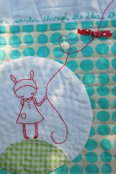 detail from quilt kite flying + daydreaming by cathy gaubert