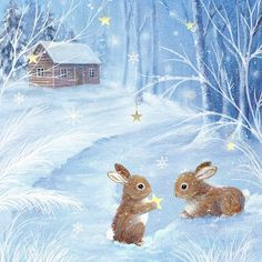 Vintage Winter Bunny Scene in Blue! Christmas Scenes, Christmas Pictures, Christmas Art, Winter Christmas, Christmas Bunny, Cute Animal Illustration, Art Et Illustration, Illustrations, Bunny Art
