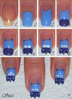 Cute Blue Cow Nails Tutorial
