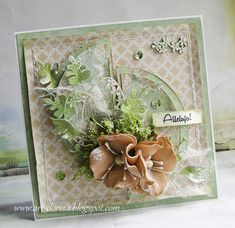 Dorota_mk: Lilies of the field Homemade Modern, Mixed Media Cards, Shabby Chic Cards, Paper Crafts, Diy Crafts, Scrapbooking, Greeting Cards Handmade, Mini Albums, Cardmaking