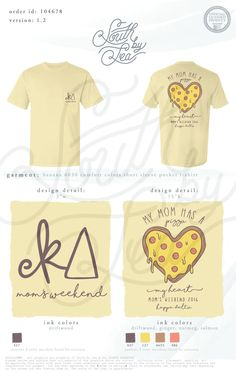 Kappa Delta | KD | My Mom Has A Pizza My Heart | Pizza Theme Shirt Design…