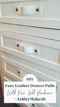 Drawer pulls and knobs are EXPENSIVE! So make your own with this super easy faux leather drawer pulls DIY. You can update any drawer or cabinet in your home with ease with just fabric and screws! Diy Leather Handle, Diy Leather Drawer Pulls, Drawer Pulls And Knobs, Diy Cabinet Handles, Dresser Handles, Cabinet Knobs, Fabric Dresser, Fabric Drawers, Diy Drawers