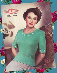 Original RARE Vintage 1940s Women Ladies GREEN GODDESS Circular Knitting Needles, Easy Knitting, Knitting Patterns Free, Crochet Patterns, Retro Outfits, Vintage Outfits, 1940s Woman, Couture Vintage, Green Goddess