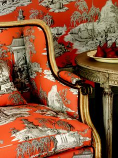 "Love this orange chinoiserie toile from Manuel Canovas...with toile ""go big or go home"", by Tartan Scot...my thoughts exactly!"