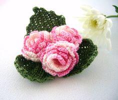 Hand Crochet Anchor Cotton Corsage Brooch Pin by CraftsbySigita,  www.etsy.com/shop/CraftsbySigita