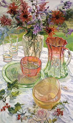 Janet Fish, Red and Green Dishes Monarda, 2007, oil on canvas, 60X36