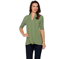 H by Halston Short Sleeve Knit Top with Chiffon Drape Front