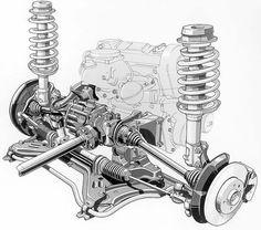 Volkswagen, Mécanicien Automobile, Technical Illustration, Car Design Sketch, Mercedes Car, Garage Art, Car Engine, Audi Quattro, Mechanical Engineering