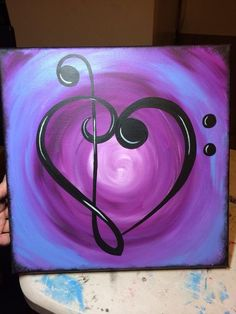 Music note heart clef house warming gift This is for a painting of a treble clef and bass clef making a heart. The background color is your choice. Made to order. Simple Canvas Paintings, Easy Canvas Painting, Heart Painting, Diy Canvas Art, Easy Paintings, Diy Painting, Beginner Canvas Painting Ideas, Dream Catcher Painting, Music Painting
