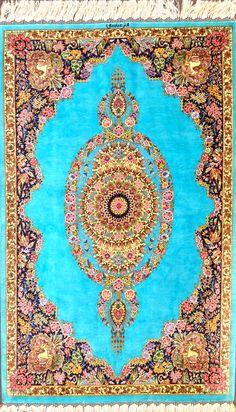 Sky Blue Qum Silk Abbasi Silk Persian Rug - Item# HF-1440   Size: 80 x 135 (cm)      2' 7 x 4' 5 (ft) with Abbasi signature
