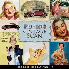 Freebies Retro Illustrations Kit--more caption fun!