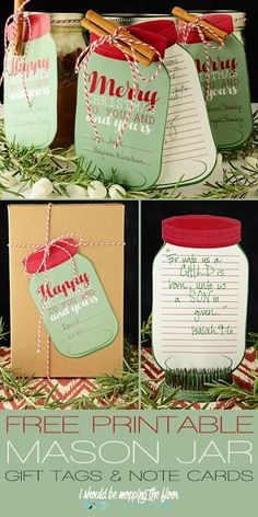 Perfect for attaching to a Christmas Holiday Gift and the Recipe in a Mason Jar for family, friends, teachers and neighbors! Free printable MASON JAR Gift Tags and Note Cards   I Should Be Mopping the Floor