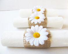 15 Napkin Rings White Daisies Brown Burlap by TheSecretGardenn