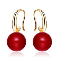 Merdia S925 Sterling Silver Charming Earrings Drop Simulated Pearl 12MM Golden Red *** See this great product.