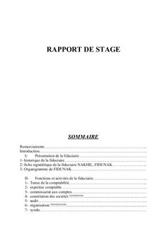 RAPPORT DE STAGE SOMMAIRE Remerciements …………………………………………………………………... Introduction………………………………………………………………………. I- Présentat...