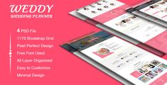 Weddy - Wedding Planner PSD Template by dot_themes Weddy ¨C is a modern, elegant and professional PSD template. This template is ideal for Wedding Planner, Wedding Agency & Business. This template is also creatively design for Creative, Corporate & Portfolio and any kind of busines
