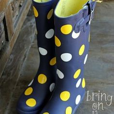 More vinyl ideas....dress up rubber boots! Will remember for the next pair of boots!