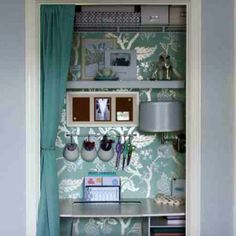 AH-MAZING Closet Redo. Metallic Floral Fantasy Wallpaper by Allen & Roth at Lowes! Found idea on this blog http://iheartorganizing.blogspot.com/?m=1