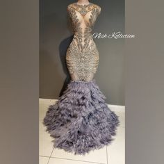 Naijah Feather Gown silver rhinestone mini dress prom, party, new years eve outfit Black Girl Prom Dresses, Senior Prom Dresses, African Prom Dresses, Pretty Prom Dresses, Prom Outfits, Dress Prom, Mini Prom Dresses, Girl Outfits, Fashion Outfits