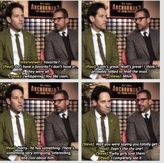Paul Rudd and Steve Carrell on One Direction