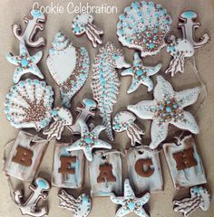 Beach Set 2016 (Cookie Celebration LLC) Basic Cookies, Fancy Cookies, Cupcake Cookies, Cupcakes, Sugar Cookie Royal Icing, Cookie Frosting, Biscuit Decoration, Sea Cakes, Summer Cookies