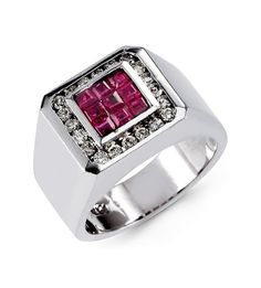 925 Sterling Silver Natural Faceted Ruby & Topaz Ring For Man Size 8 9 10 11 #Tiffanyjewels #Cluster