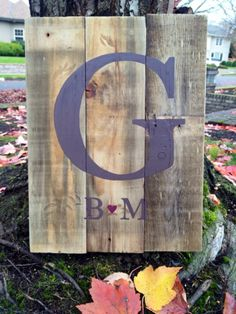 Hedyart in Eugene, Or - Monogram (established date) reclaimed wood sign.  Used for guestbook at wedding reception.