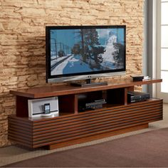 "Finish wall in wood or wallpaper, etc.  ""Samba"" 71"" TV Console in Autumn Cherry"