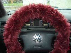 Burgundy Fuzzy Steering Wheel Cover Bordo by BeautySteeringWheel