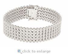 CZ Bracelet Bezel Set Cubic Zirconia Rounds 14K White Gold By Ziamond.  The Rio Quinto Bracelet features approximately 5 carats in total carat weight.  $2995 #ziamond #cubiczirconia #cz #bracelet #diamond #jewelry #14kgold