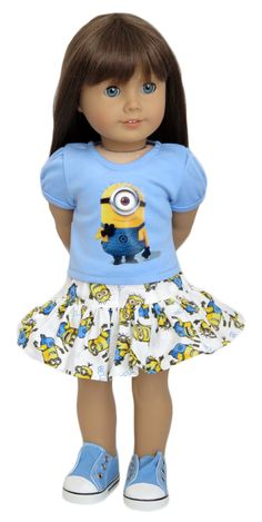 Silly Monkey – Blue Minions Top and White Skirt (American Girl Doll) source: Hub… - American Girl Dolls Ropa American Girl, My American Girl Doll, American Girl Crafts, American Doll Clothes, Ag Doll Clothes, Girl Dolls, Baby Dolls, America Girl, Journey Girls
