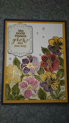 March 2018 paper pumpkin - May Good Things Grow Stampin Up Paper Pumpkin, Pumpkin Cards, Mason Jar Gifts, Embossed Cards, Card Maker, Sympathy Cards, Stampin Up Cards, Altenew Cards, Stamping Up