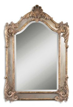 Alvita Small Mirror 26 x 2 x 40 Beveled mirror accented by antiqued side mirrors and an antiqued gold leaf frame with a dark gray glaze.