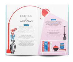 I like this magazine spread because it effectively uses graphics to separate text and highlight the information on the page. This spread is about lighting & windows, and without even reading it, the reader can observe that with the lamp and the light it is casting. The use of colors is aesthetically pleasing, and the minimal typographic differences make this a very simple layout to look at.