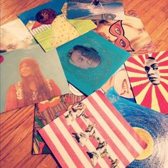 """painted albums, so fun. (Make """"self-portraits"""" out of albums from the thrift store?)"""