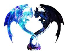 """""""Dragon Heart (Toothless and Light Fury)"""" Photographic Prints by Unicornarama Httyd Dragons, Cute Dragons, Cute Disney Drawings, Cute Animal Drawings, Mythical Creatures Art, Fantasy Creatures, Image Tatoo, Night Fury Dragon, Toothless Dragon"""
