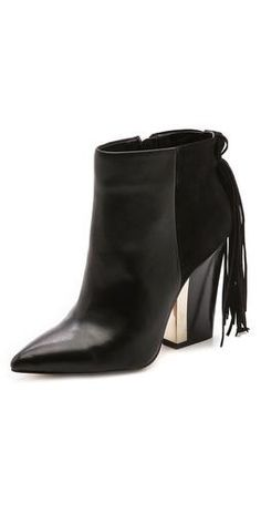 Pointy toe bootie with fringe! Why not?