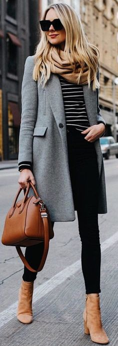#winter #outfits gray trench coat