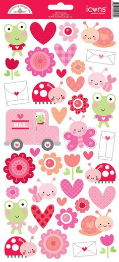 Doodlebug Design - Lovebugs Collection - Cardstock Stickers - Icons at Scrapbook.com
