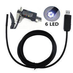 6 светод. 2 м видео-эндоскоп водонепроницаемый 720 P HD инспекции трубы 5.5 мм объектив мини USB камера змея пробки для Android телефон пк