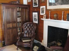 Victorian leather chair, library