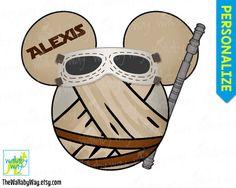 Rey Star Wars Mickey Head Disney Printable Iron On Transfer or Use as Clip Art - The Force Awakens, DIY Disney Shirt, Mickey Ears, StarWars by TheWallabyWay on Etsy
