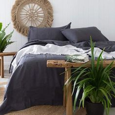 Linen bedding always looks so relaxed, yet so comfortable and inviting. Charcoal #linen #sheetset #bedding #ad #bedroom decor