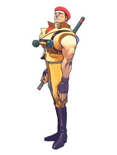 """meldowiseau:  """" I'm looking at Rolento's Street Fighter Alpha 2 artwork and this is the most oddly proportioned of them all  look at how small his torso is and how his freakishly long arm is almost touching his boot  """""""