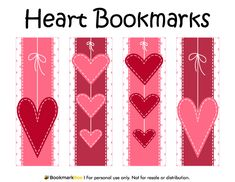 Free printable heart bookmarks. Download the PDF template at http://bookmarkbee.com/bookmark/heart/