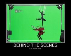 Behind the scenes: that explains all, funny, text, green screen, stunts, Grell, Sebastian; Black Butler