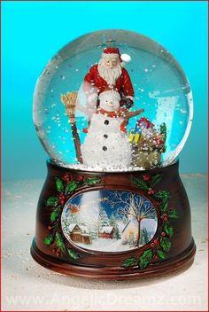 lenox christmas snow globes | Roman Inc. Musical Santa with Snowman Water Globe Materials: Resin ...