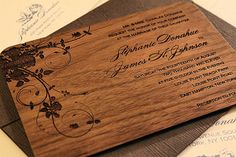 Engraved Wood Wedding Invitation - Jardin
